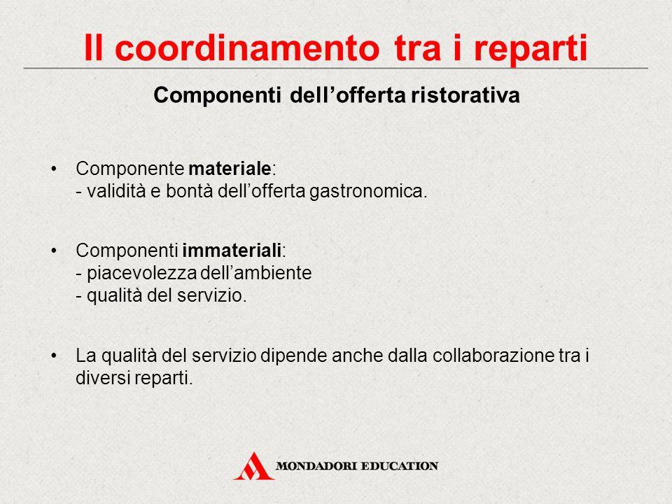 Componente materiale: - validità e bontà dell'offerta gastronomica.