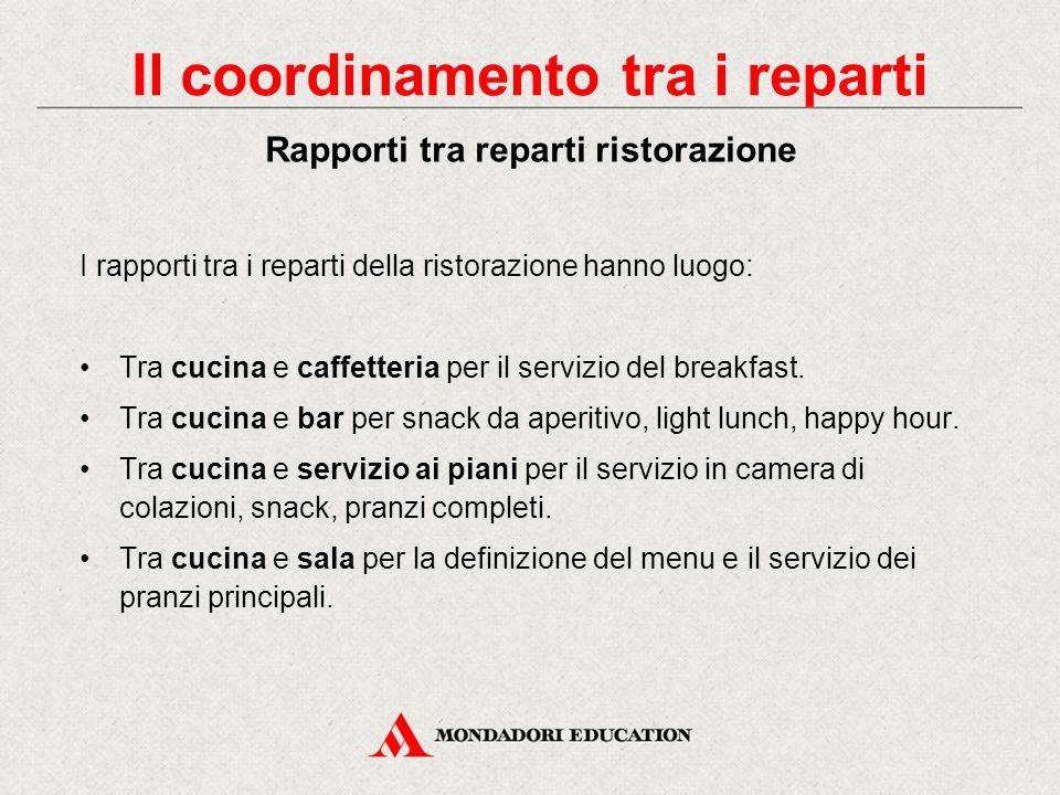 I rapporti tra i reparti della ristorazione hanno luogo: Tra cucina e caffetteria per il servizio del breakfast.