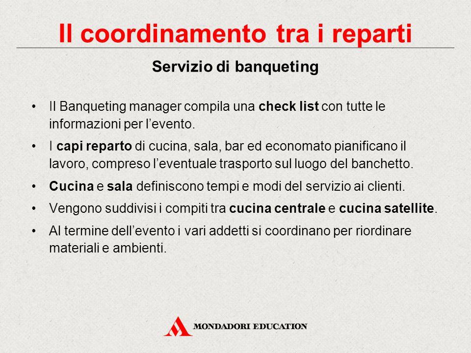 Il Banqueting manager compila una check list con tutte le informazioni per l'evento.