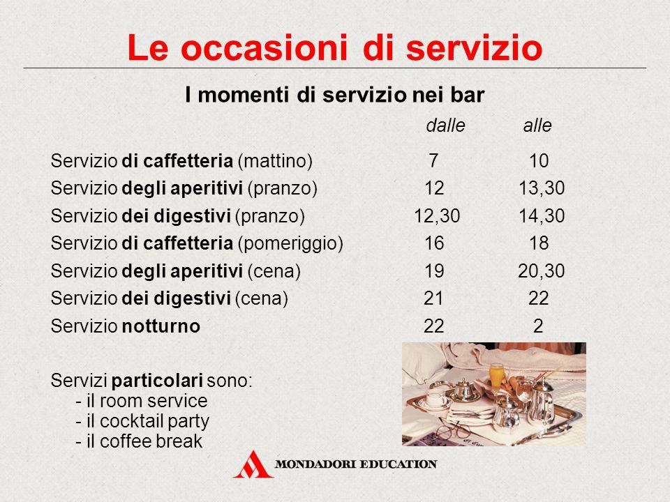 Servizio di caffetteria (mattino) 7 10 Servizio degli aperitivi (pranzo) 1213,30 Servizio dei digestivi (pranzo)12,3014,30 Servizio di caffetteria (pomeriggio) 16 18 Servizio degli aperitivi (cena) 1920,30 Servizio dei digestivi (cena) 21 22 Servizio notturno 22 2 Servizi particolari sono: - il room service - il cocktail party - il coffee break dalle alle Le occasioni di servizio I momenti di servizio nei bar
