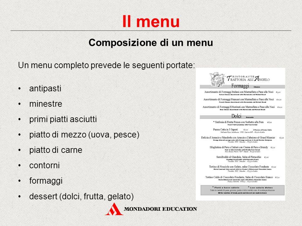 Un menu completo prevede le seguenti portate: antipasti minestre primi piatti asciutti piatto di mezzo (uova, pesce) piatto di carne contorni formaggi dessert (dolci, frutta, gelato) Il menu Composizione di un menu