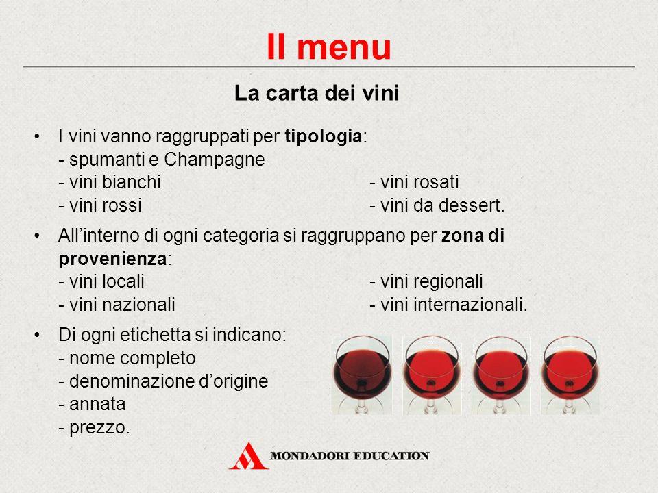 I vini vanno raggruppati per tipologia: - spumanti e Champagne - vini bianchi- vini rosati - vini rossi- vini da dessert.