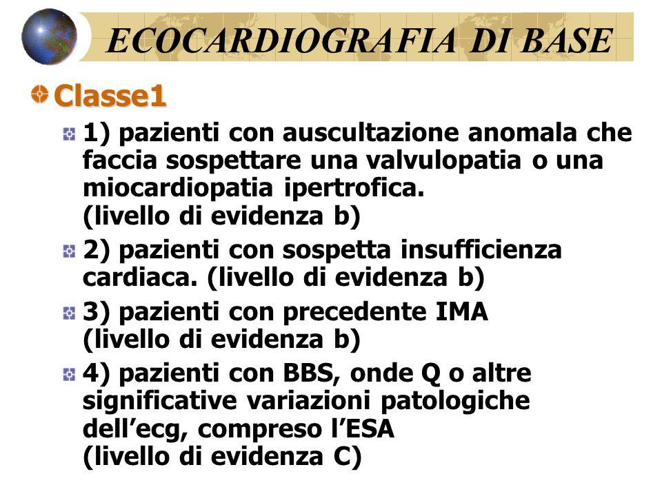 Indicazioni alla Coronarografia Classe1 1) Severa angina stabile (Classe 3 o più della CCSS) con un'alta probabilità pre-test di malattia particolarmente se i sintomi non rispondono adeguatamente alla terapia medica (livello di evidenza b) 2) Sopravvissuti ad arresto cardiaco (livello di evidenza b) 3) Pazienti con aritmie ventricolari severe (livello di evidenza b) 4) Pazienti già sottoposti a rivascolarizzazione, che presentano una precoce ripresa di angina moderata o severa (livello di evidenza C) Classe IIa 1) Pazienti con diagnosi non definitiva o con risultati in contrasto come risultato di differenti test non invasivi a rischio intermedio-alto di coronaropatia (livello di evidenza C) 2) Pazienti ad alto rischio di restenosi dopo angioplastica, se questa è stata eseguita in una sede prognosticamente importante (livello di evidenza C)