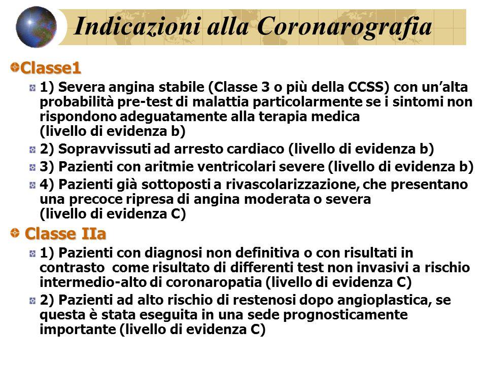 CLINICA Classe 1 1) Storia clinica ed esame fisico dettagliato comprendente una completa descrizione dei sintomi, quantificazione della limitazione funzionale, storia medica passata, profilo del rischio cardiovascolare (livello di evidenza b) 2) Ecg a riposo in tutti i pazienti.