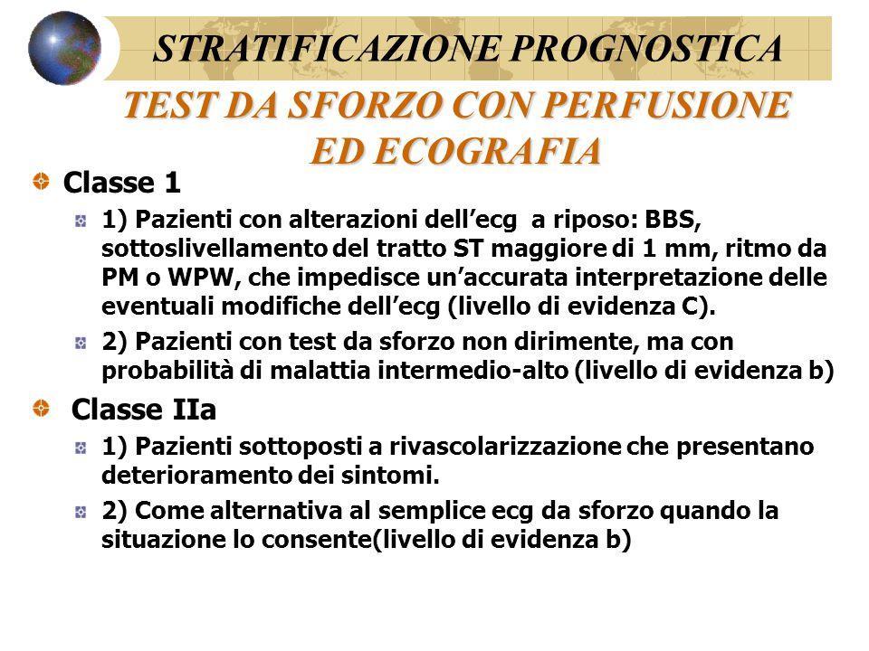 STRESS FARMACOLOGICO (ECOGRAFIA O SCINTIGRAFIA) Classe 1 Pazienti che non sono in grado di eseguire uno sforzo STRATIFICAZIONE PROGNOSTICA