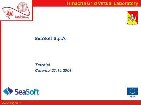 FESR www.trigrid.it Trinacria Grid Virtual Laboratory SeaSoft S.p.A. Tutorial Catania, 23.10.2006.