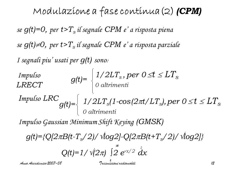Anno Accademico 2007-08Trasmissioni radiomobili13 Modulazione a fase continua (3) (CPM) g(t)=LT e q(t) a risposta piena g(t)=coseno rialzato e q(t) a risposta piena