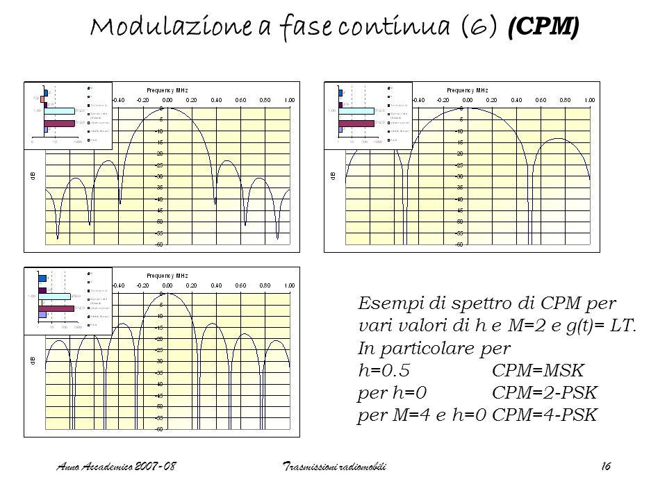 Anno Accademico 2007-08Trasmissioni radiomobili17 Modulazione a fase continua (7) (CPM) Stati terminali delle fasi caso per g(t) =rect, risposta piena e b k =±1 Valori terminali delle fasi per h=m/p, m e p primi tra loro con m par i: con m dispari :  s ={0,  m/p,2  m/p,3  m/p,….,  (p-1)m/p} numero di stati =p  s ={0,  m/p,2  m/p,3  m/p,….,  (2p-1)m/p} numero di stati=2p