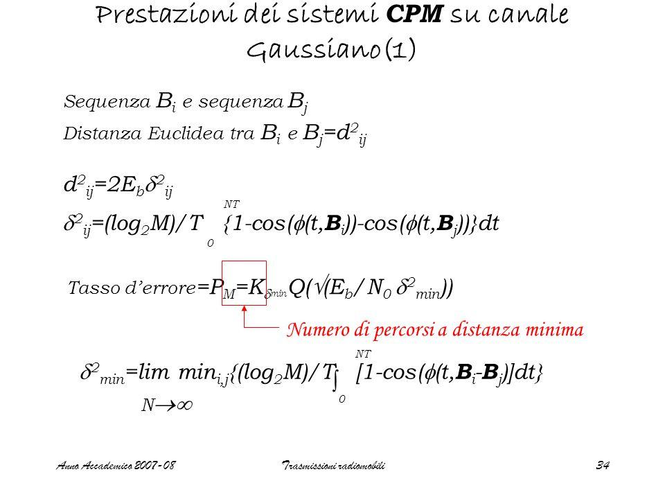 Anno Accademico 2007-08Trasmissioni radiomobili35 Prestazioni dei sistemi CPM su canale Gaussiano(2) Nel caso QPSK  2 min =  2 12 =2 Nel caso CPM si dimostra che  2 min  d 2 B (h) d 2 B (h)= 2(1-sin(2  h)/(2  h)), M=2 min {(2log 2 M)(1-sin(2  kh)/(2  kh))}, M>2 1  k  M-1