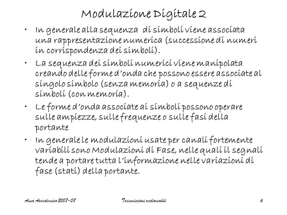 Anno Accademico 2007-08Trasmissioni radiomobili7 Modulazione Digitale 3 La quantità di informazione trasmessa dalla sorgente è misurata in Simboli al secondo (baud) I simboli vengono in genera rappresentati da sequenze di bit.