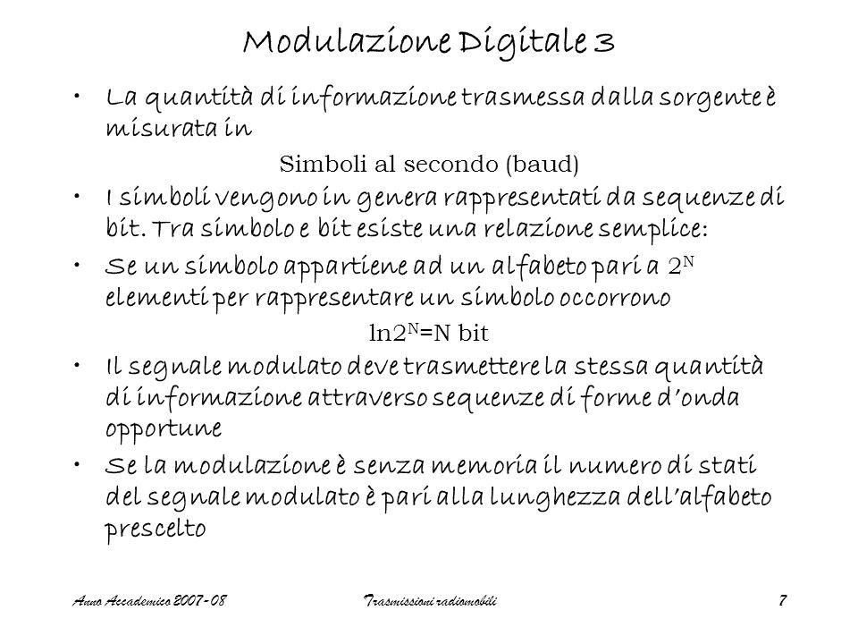 Anno Accademico 2007-08Trasmissioni radiomobili8 Segnale M-PSK ( senza memoria) (1) s(t)=  (2  /T s )cos(2  f 0 t+  k )rect(t/T s )