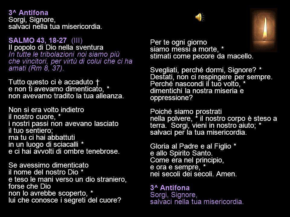 3^ Antifona Sorgi, Signore, salvaci nella tua misericordia.