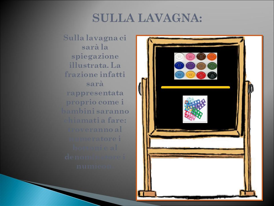 SULLA CATTEDRA: Sulla cattedra della maestra troviamo:  Una scatola con dei bigliettini con scritte diverse frazioni  La scatola con i Numicon  La scatola con i bottoni
