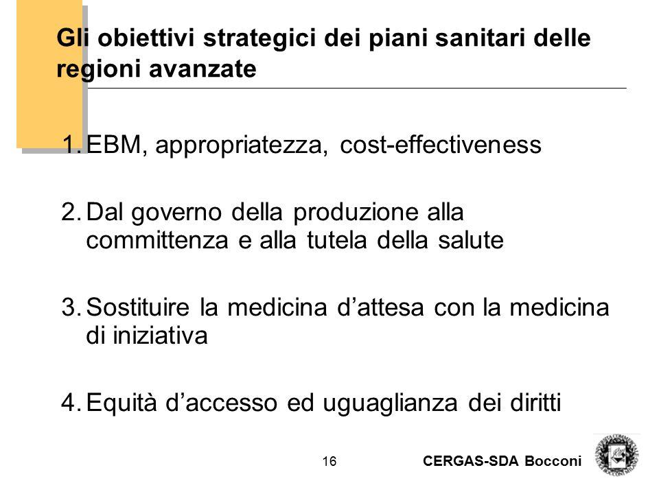 CERGAS-SDA Bocconi 17 Set di scenari Modelli di TRASFORMAZIONE DEL BISOGNO IN DOMANA 1.Scenario Kit della prevenzione 2.Scenario Medicina di iniziativa e Chronic care model 3.Scenario Personal technology- driven