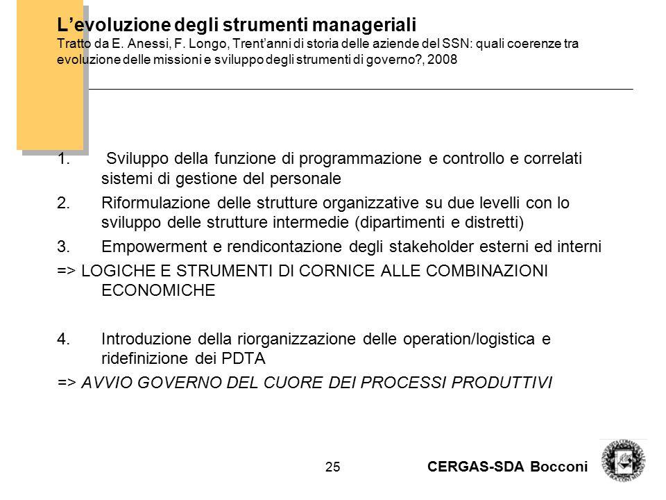CERGAS-SDA Bocconi 26 Le aziende del SSN sono attrezzate per questi obiettivi strategici.