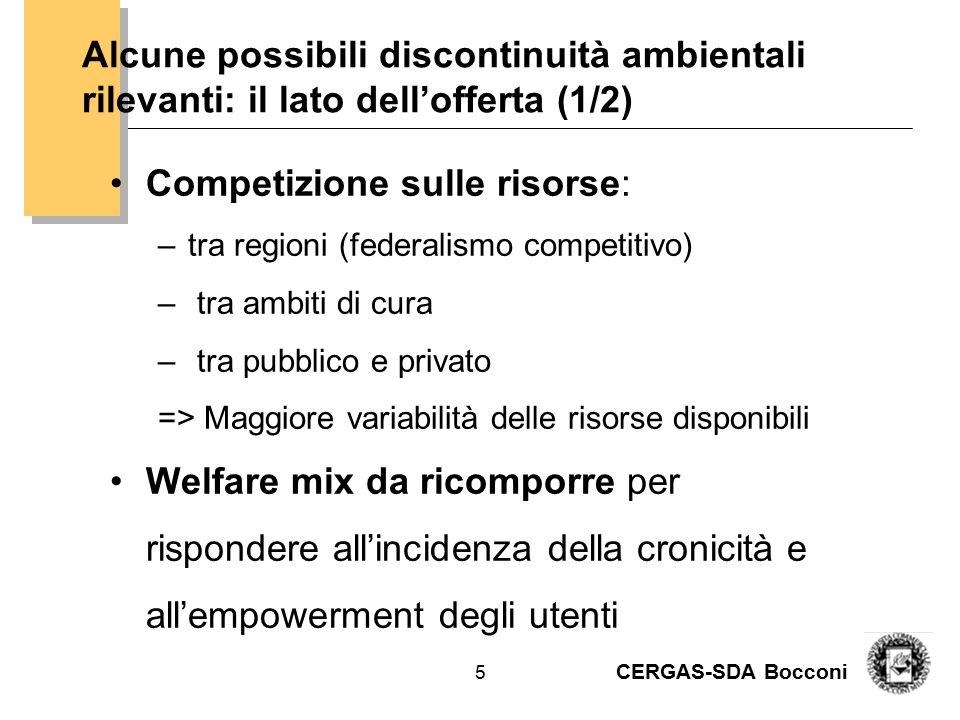 CERGAS-SDA Bocconi 6 Esempio estratto dalla proposta di piano strategico AUSL BO: le componenti del welfare socio-sanitario (spesa pro capite) SSN 2.023 € di cui 83 € F.N.A.