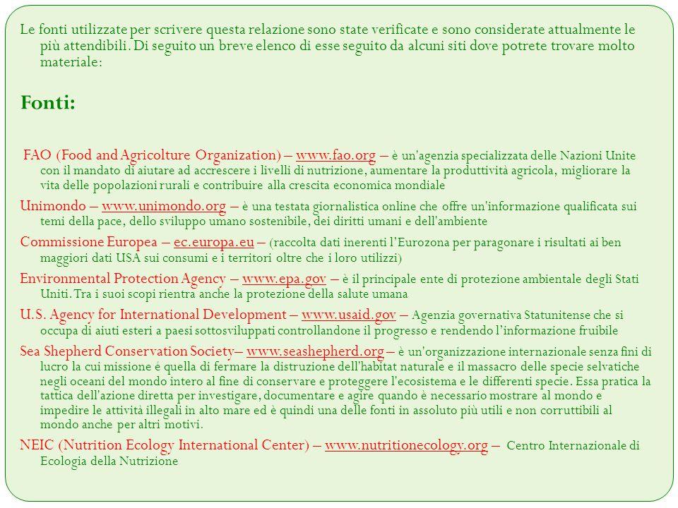 Altre Fonti: - Sustainability of meat-based and plant-based diets and the environment di David e Marcia Pimente - Varie pubblicazioni scientifiche e statistiche di R.