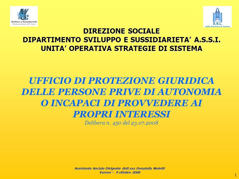 Assistente Sociale Dirigente dott.ssa Donatella Meletti Varese – 9 ottobre 2008 2 UFFICIO DI PROTEZIONE GIURIDICA Normativa di riferimento: L.R.