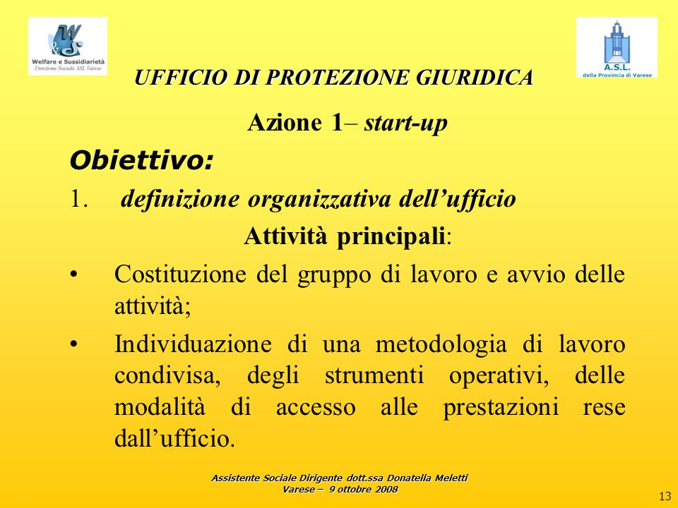 Assistente Sociale Dirigente dott.ssa Donatella Meletti Varese – 9 ottobre 2008 14 UFFICIO DI PROTEZIONE GIURIDICA UFFICIO DI PROTEZIONE GIURIDICA Azione 2 - pubblicizzazione e sensibilizzazione Obiettivi: 1.aumentare le informazioni sui compiti e sull'attività dell'ufficio di protezione giuridica; 2.Aumentare l'informazione sugli strumenti di tutela giuridica.