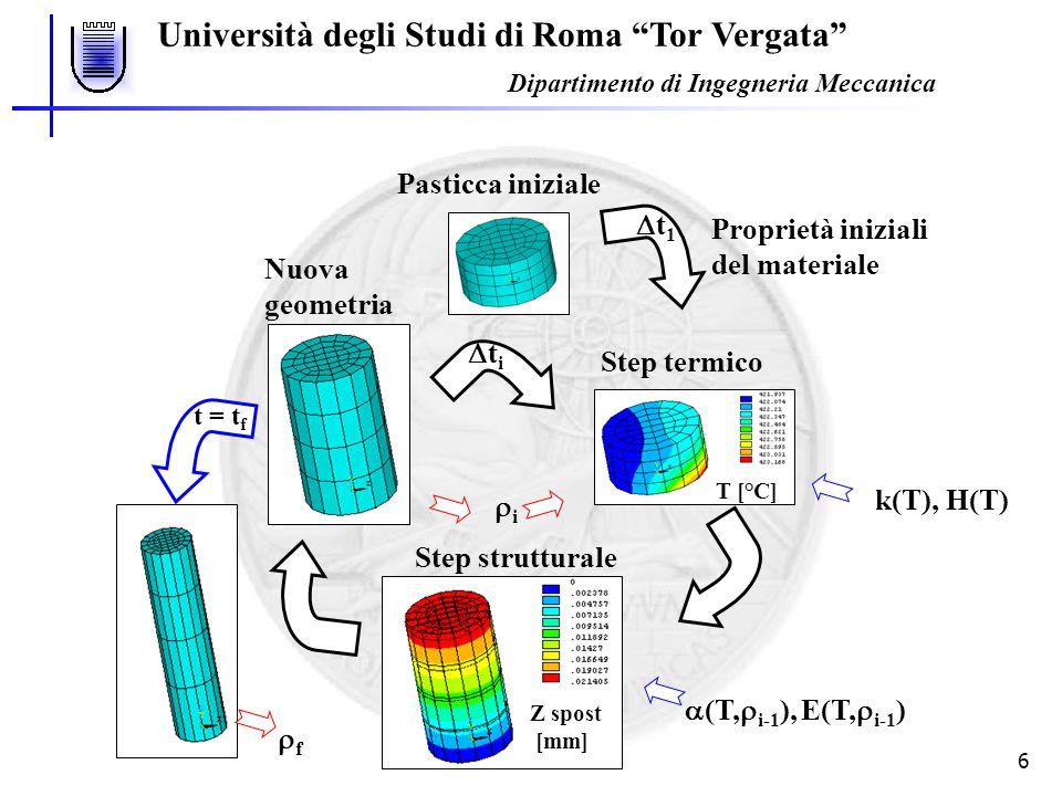 Università degli Studi di Roma Tor Vergata Dipartimento di Ingegneria Meccanica 7 Mappa di densità [kg/m 3 ] Modellazione del processo di schiumatura