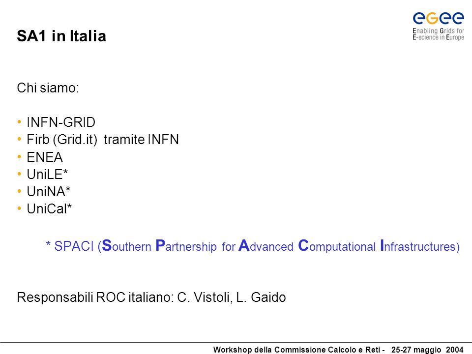 Workshop della Commissione Calcolo e Reti - 25-27 maggio 2004 SA1-IT: da dove partiamo The existing italian Grid Operation Center is the first step towards the EGEE ROC + CIC.