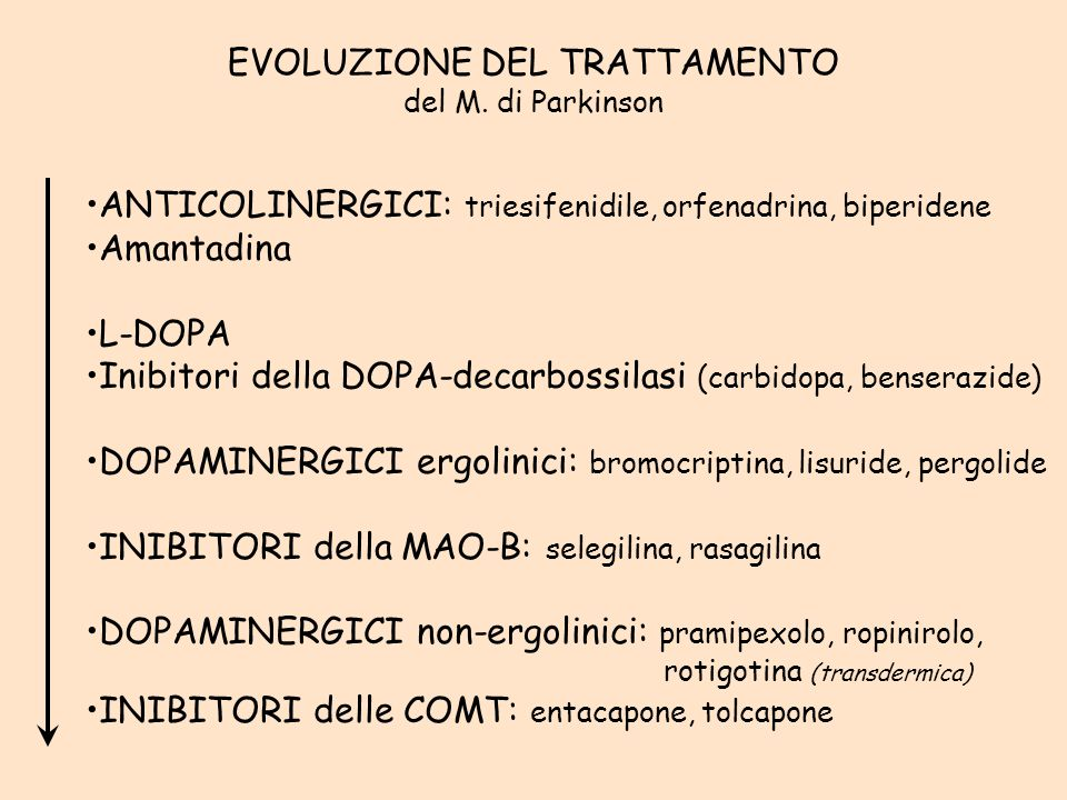 D2D2 DA L-DOPA DOPA decarbossilasi MAO-B L-DOPA DA 3-OH-metil- DOPA decarbossilasi COMT dopaminergici diretti amantadina inibitori S.N.C