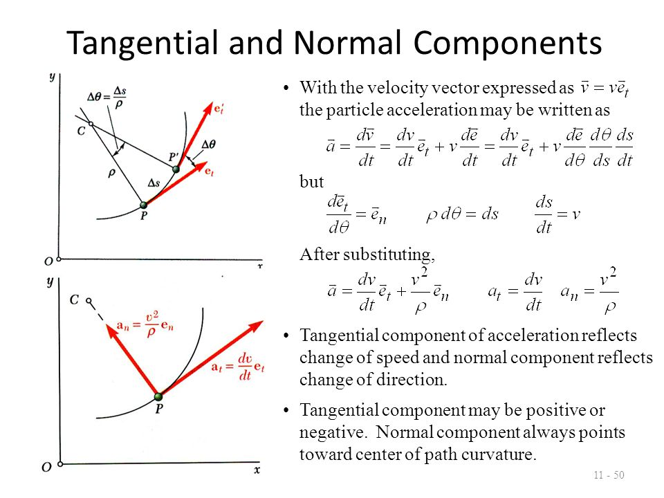Tangential and Normal Components 11 - 51 Relations for tangential and normal acceleration also apply for particle moving along space curve.