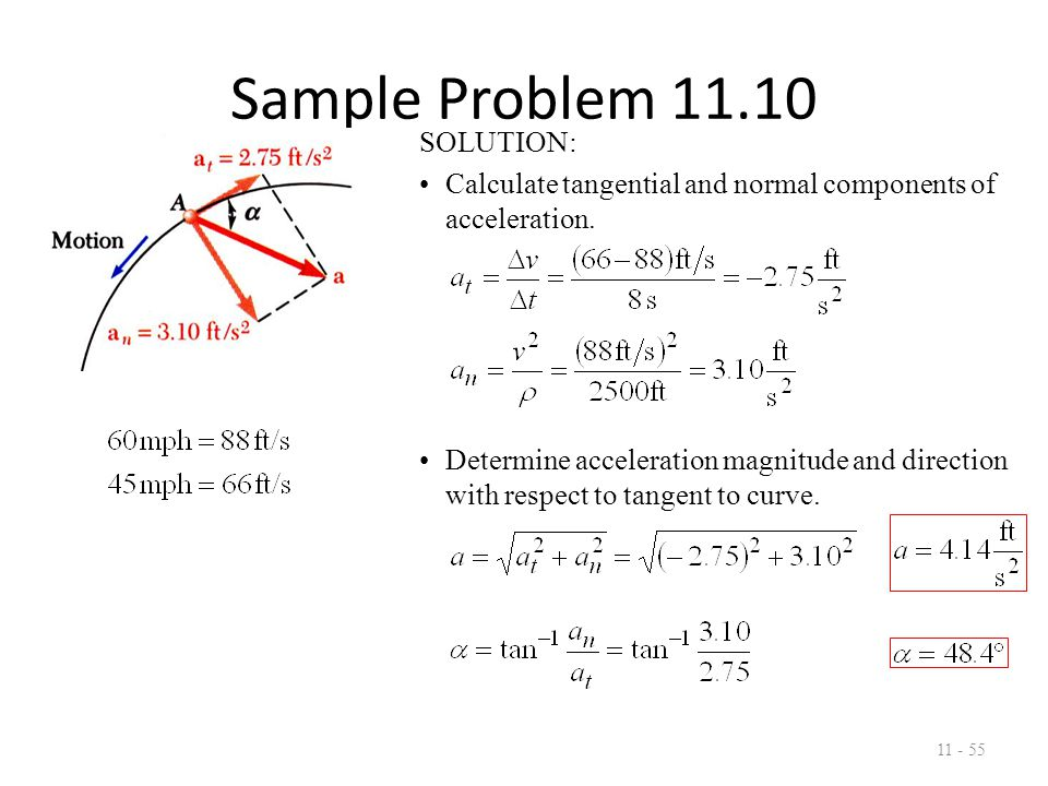 Sample Problem 11.12 11 - 56 Rotation of the arm about O is defined by  = 0.15t 2 where  is in radians and t in seconds.