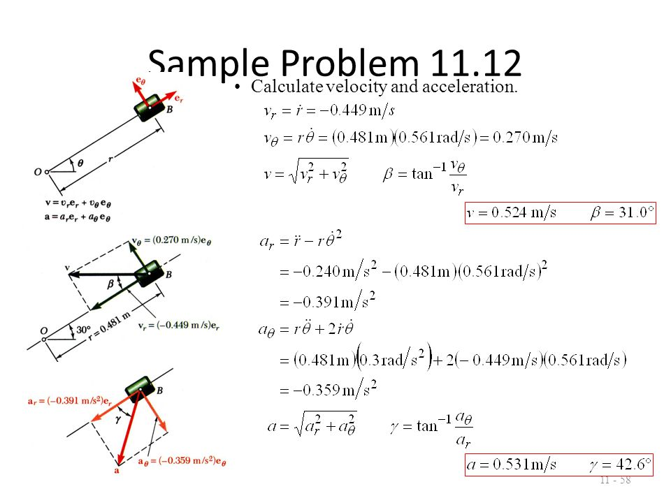 Sample Problem 11.12 11 - 59 Evaluate acceleration with respect to arm.