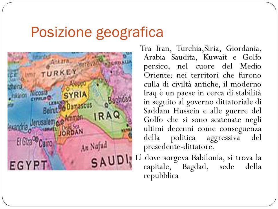 Divisioni etniche e religiose Tre sono le principali divisioni etniche e religiose: Arabi sunniti, stanziati principalmente nel sud- est del paese; Arabi sciti, stanziati soprattutto nel centro nord; Curdi, nel nord-est.