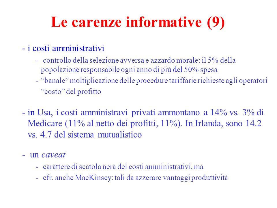Le carenze informative (10) Che tipo di intervento pubblico.