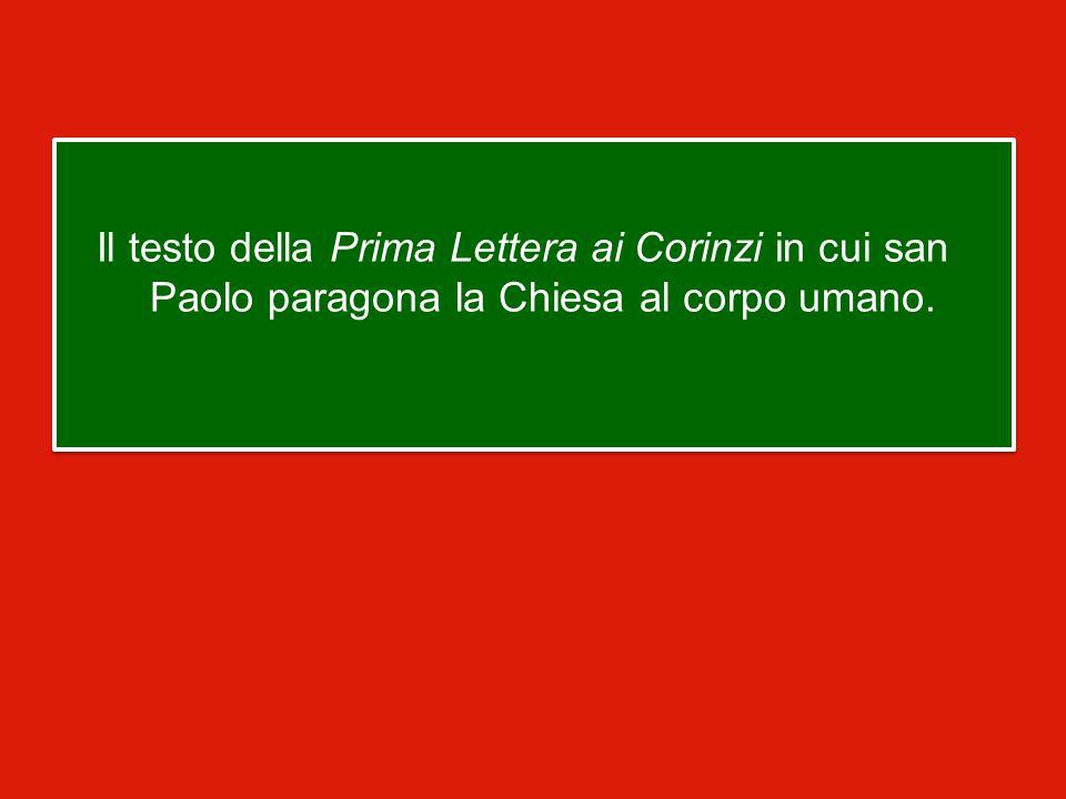 Il testo della Prima Lettera ai Corinzi in cui san Paolo paragona la Chiesa al corpo umano.