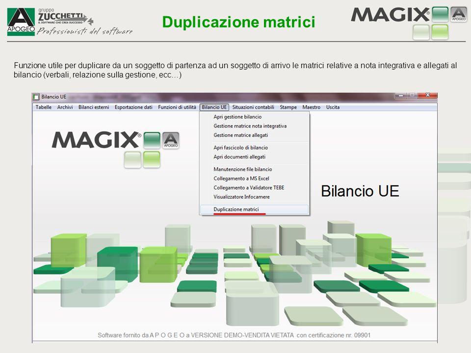1- accertarsi di utilizzare un computer dove sono stati installati MS-Excel™, MS-Word™ ed ove sia possibile operare con l applicativo Magix 2 - gestire la contabilità, inserire le scritture di assestamento oppure inserire manualmente i bilanci esterni 3 - dal menù Contabilità, selezionare Bilancio UE - Esportazione a bilancio UE , seguire le istruzioni riportate nel paragrafo specifico 4 - accedere in gestione bilancio UE (Excel™) e cliccare sul primo pulsante-icona del foglio Start denominato Aggiornamento dati contabili ; se si preferisce utilizzare il foglio Start-guidato , anche qui tale pulsante rimane il primo della serie 5 - al termine dell importazione, che si avvia automaticamente, viene salvato il file di Excel™ contenente i dati di bilancio e gli altri prospetti.