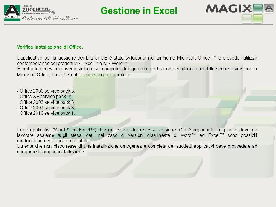 Con la conferma dei dati in accettazione limiti si apre una maschera dove vengono richiesti ulteriori dati per la produzione del file telematico XBRL: Gestione in Excel