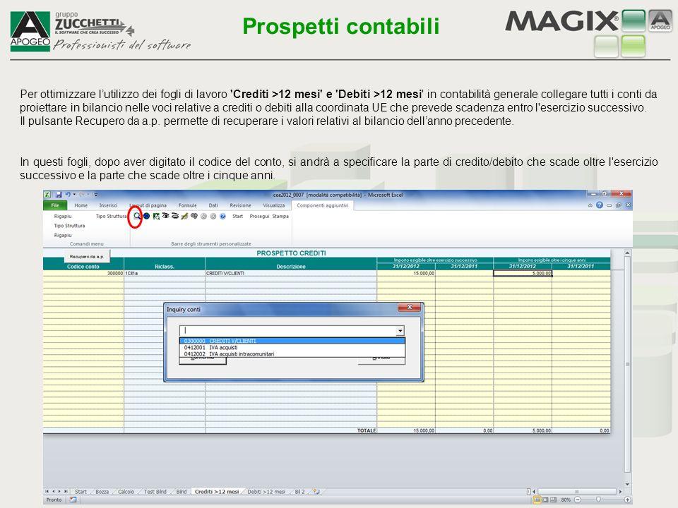 Il foglio Test permette di verificare la quadratura del bilancio e altre situazioni che possono essere anomale ed eventualmente le segnala Prospetti contabili