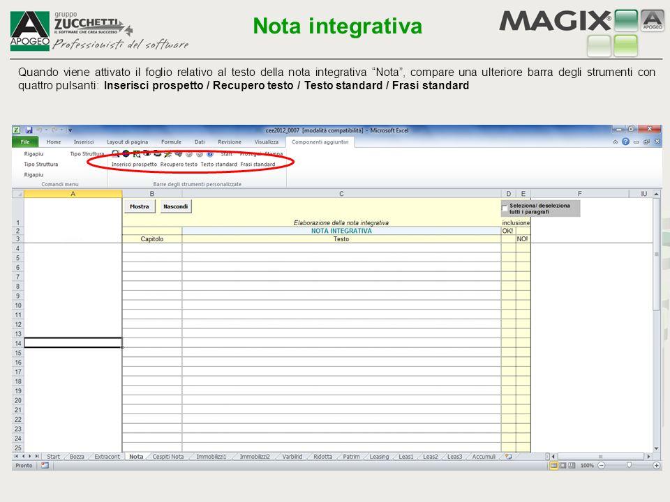Permette di importare un testo standard di nota integrativa.