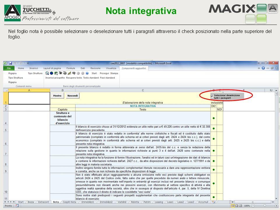 E' possibile modificare le frasi del testo standard attraverso l'apposita icona Modifica nota integrativa Nota integrativa