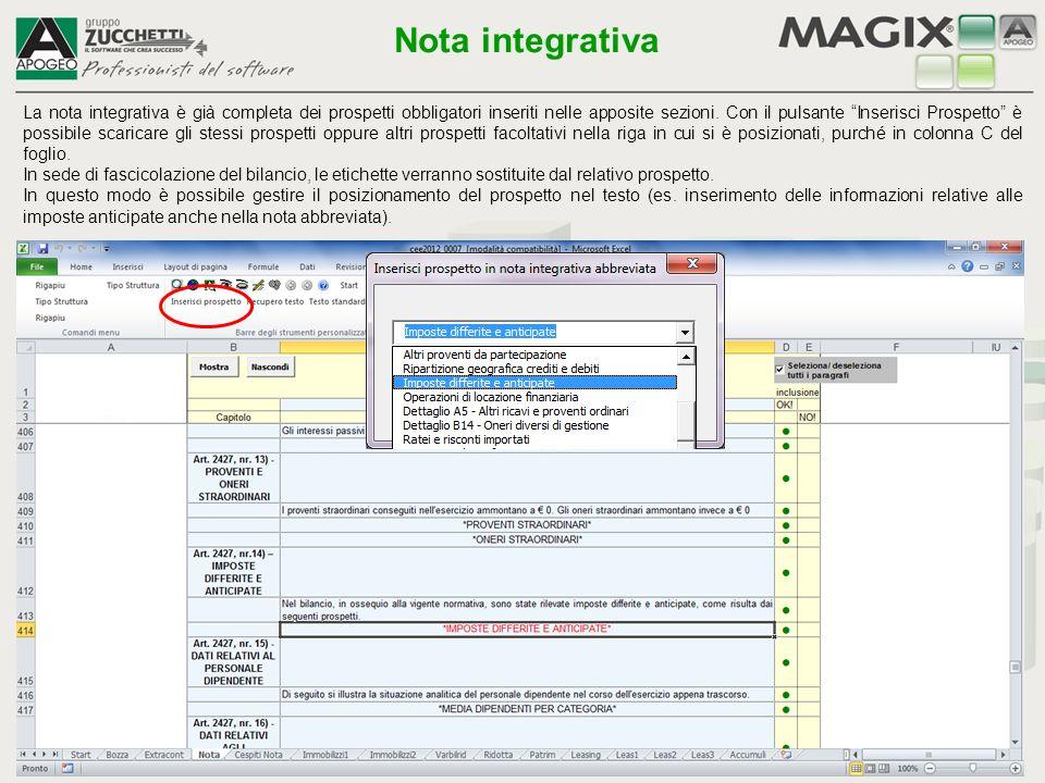 Il testo modificato e personalizzato con le funzioni precedenti può essere recuperato anche sugli altri bilanci attraverso la funzione Recupero testo .