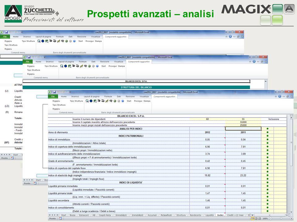 Il pulsante Stampa apre l'anteprima di stampa di Excel per i fogli di calcolo che è utile conservare come documentazione interna (es.