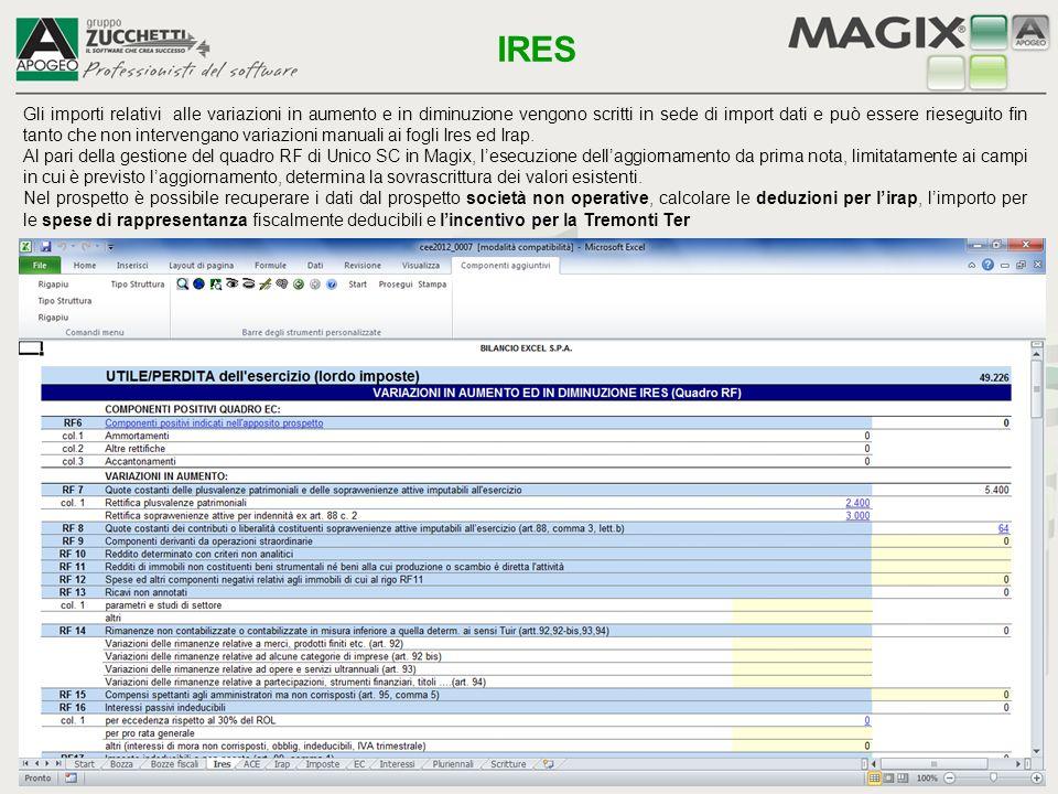 Foglio per il calcolo dell'agevolazione fiscale ACE (Aiuto Crescita Economica) NB – In Magix - Unico SC, sarà possibile aggiornare il prospetto ACE con i dati gestiti in questo schema ACE