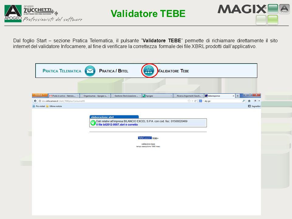 Dal foglio Start – sezione Pratica Telematica, il pulsante Pratica / Bitel permette di alimentare in automatico la base dati (es.