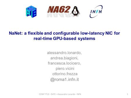 NaNet: a flexible and configurable low-latency NIC for real-time GPU-based systems alessandro.lonardo, andrea.biagioni, francesca.locicero, piero.vicini.