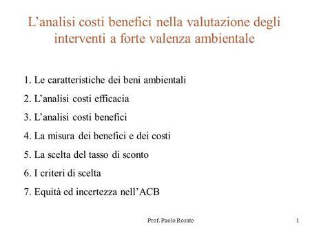 Analisi costi benefici esercizi