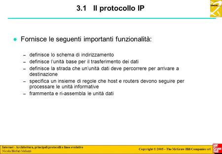Slide #: 1/232 Internet - Architettura, principali protocolli e linee evolutive Nicola Blefari Melazzi Copyright © 2005 – The McGraw-Hill Companies srl.