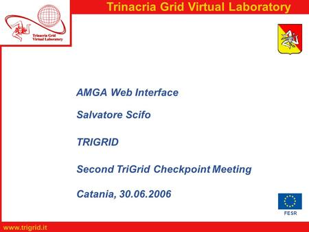 FESR www.trigrid.it Trinacria Grid Virtual Laboratory AMGA Web Interface Salvatore Scifo TRIGRID Second TriGrid Checkpoint Meeting Catania, 30.06.2006.