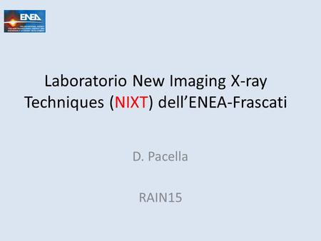 Laboratorio New Imaging X-ray Techniques (NIXT) dell'ENEA-Frascati D. Pacella RAIN15.