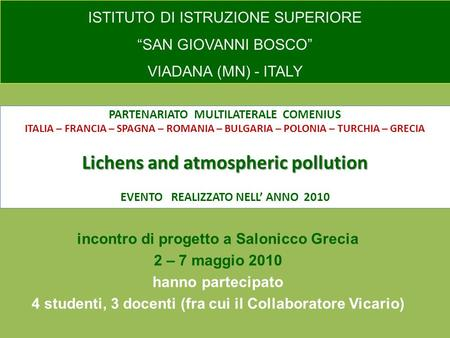 Lichens and atmospheric pollution PARTENARIATO MULTILATERALE COMENIUS ITALIA – FRANCIA – SPAGNA – ROMANIA – BULGARIA – POLONIA – TURCHIA – GRECIA Lichens.