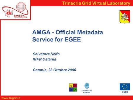 FESR www.trigrid.it Trinacria Grid Virtual Laboratory University of Coimbra AMGA - Official Metadata Service for EGEE Salvatore Scifo INFN Catania Catania,