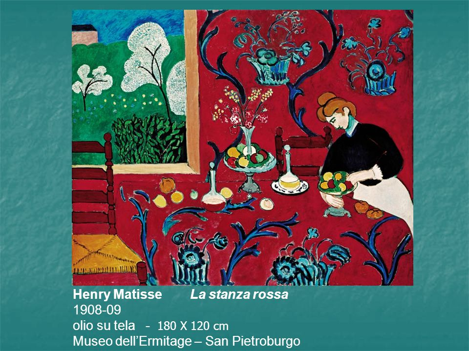 In un primo momento Matisse realizza il quadro in verde e lo intitola Armonia in verde, successivamente lo ridipinge in blu e lo intitola Armonia in blu, Scukin (collezionista russo ) lo compra per la sua camera da pranzo, prima di consegnare il quadro Matisse cambia nuovamente colore utilizzando il rosso.