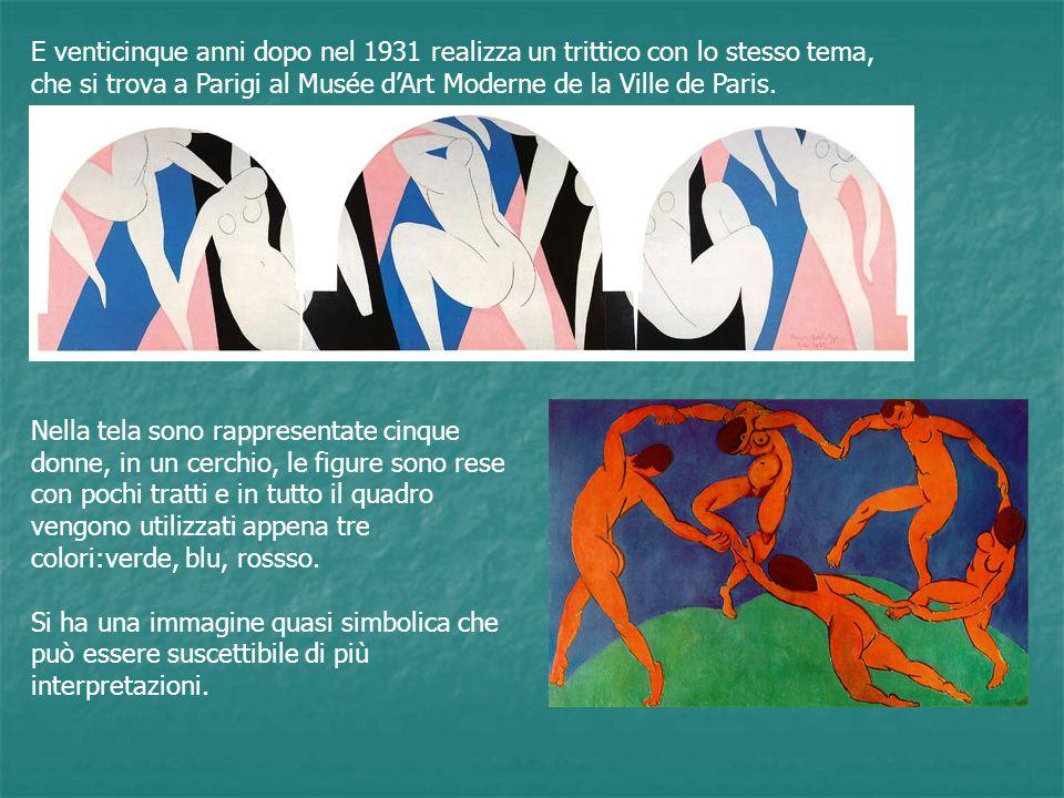 La parte inferiore del quadro è realizzata in verde,simboleggia la Terra, ne segue la curvatura ma sembra realizzata in un materiale elastico : il piede di tre danzatrici imprime alla curvatura una deformazione dovuta al peso dei corpi.